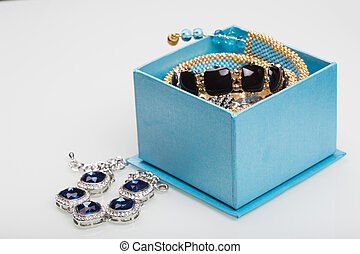 Bracelet with blue stones in a box
