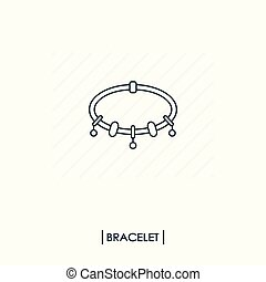 Bracelet with charms outline icon isolated