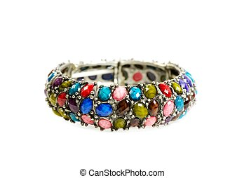 Bracelet with gems on a white background
