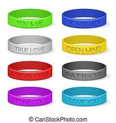 bracelets, couleur, silicone