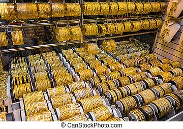 bracelets, et, autre, articles, fait, de, or, et, pierres précieuses, à, les, marché