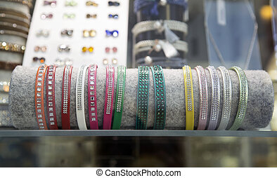 Bracelets in a shop window