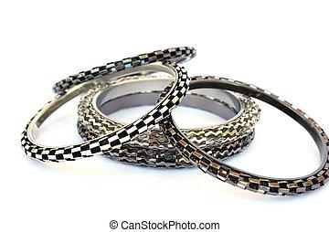 Bracelets isolated on white background.