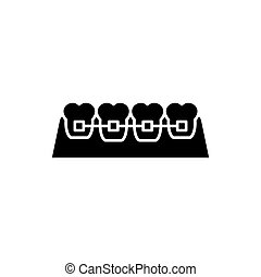 Braces black icon, vector sign on isolated background. Braces concept symbol, illustration