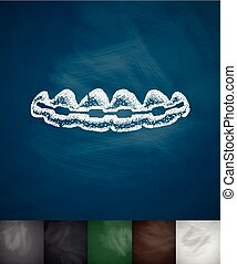 braces icon. Hand drawn vector illustration. Chalkboard...