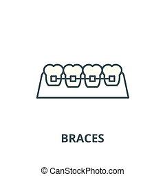 Braces line icon, vector. Braces outline sign, concept symbol, flat illustration