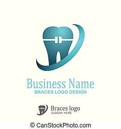 Braces logo design. - vector icon with blue color, isolated...