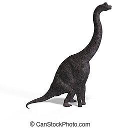 brachiosaurus, 巨人, 上に, 切り抜き, 恐竜, 道, 白