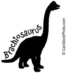 Brachiosaurus Black Silhouette over White with Clipping Path for Sublimation Vinyl Designs