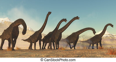 A Brachiosaurus dinosaur herd pass through a dry desert area in the Jurassic Period of North America.