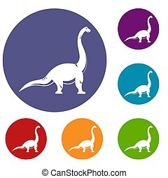 Brachiosaurus dinosaur icons set