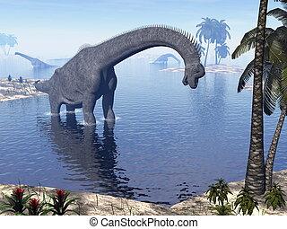 Brachiosaurus dinosaur in water - 3D render - Brachiosaurus...