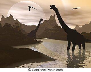 Brachiosaurus dinosaurs in water - 3D render - Brachiosaurus...