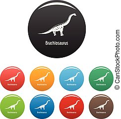 Brachiosaurus icons set color vector - Brachiosaurus icon....