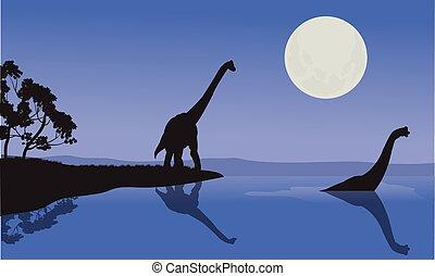 Brachiosaurus in sea scenery
