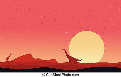 Brachiosaurus on hills landscape at afternoon
