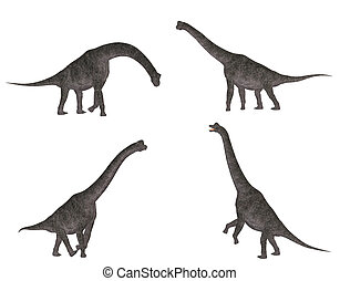 Brachiosaurus Pack - Illustration of a pack of four (4)...