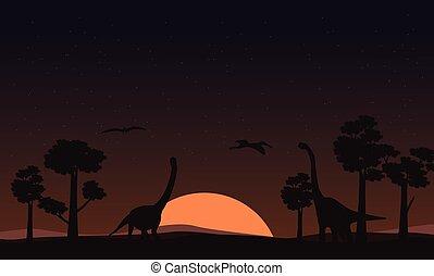 brachiosaurus, silhouettes, coucher soleil, paysage