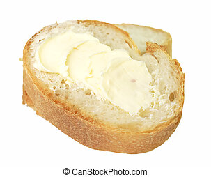 Brad and margarine - Two bread slices and margarine isolated...