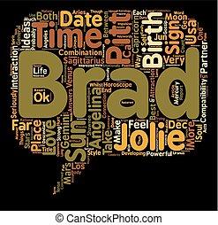 Brad Pitt Angelina Jolie love Horoscopes Report text background wordcloud concept