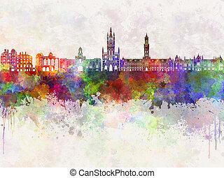 Bradford skyline in watercolor