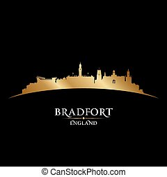 Bradfort England city skyline silhouette black background