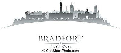 Bradfort England city skyline silhouette white background