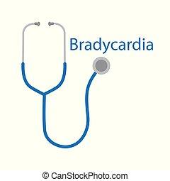 bradycardia, szó, és, sztetoszkóp, ikon