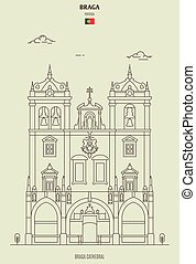 Braga Cathedral, Portugal. Landmark icon in linear style