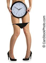 bragas, reloj, hembra, desinflado, piernas, redondo