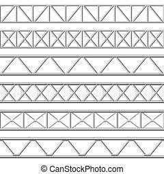 bragueiro, fase, vetorial, estruturas, telhado, aço,...