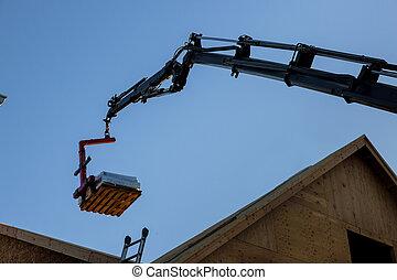 braguero, levantado, camión, carretilla elevadora, nuevo, techo, auge, hogar, de madera, ser