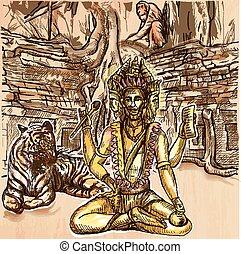 Brahma. God. An hand drawn vector. Line art. - Creator God....