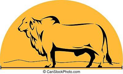 Brahman Bull Mountains Side Half Cricle - Illustrtation of a...