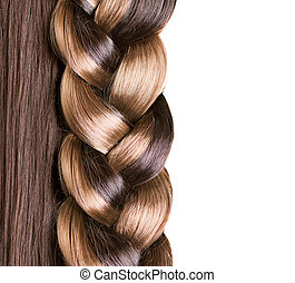 Braid Hairstyle. Brown Long Hair close up. Healthy Hair