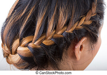 braid long hair style on woman head
