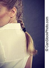 braid., mulher, loiro, vista traseira