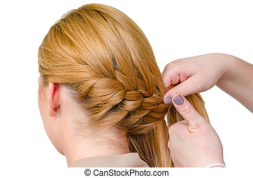 Braid, rear view of a hairstyle