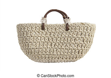 Braided handbag with wooden handles - Braided fabric handbag...
