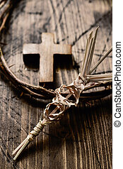 braided palm, cross and crown of thorns