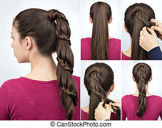 braided pony tail hairstyle tutorial - braided hairstyle for...