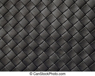 Braided texture of old black leather. Close up.