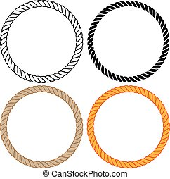 Braided twisted rope circles vector illustration