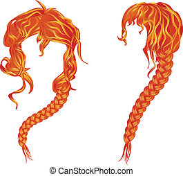 Braided wavy red hair