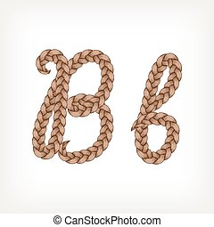 Braids hair font - Braids font. Alphabet made from hairstyle...