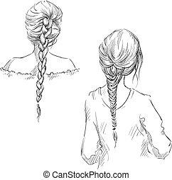 braids., wektor, hairstyle., rysunek