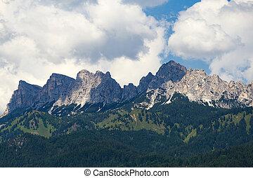 braies, montanhas, lago, floresta, di