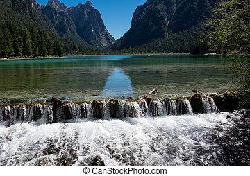 "braies-, ""pearl, lakes"", lago, alpino"