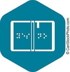 braille, ícone, estilo, simples