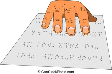 Braille - A hand reading braille from a sheet of paper